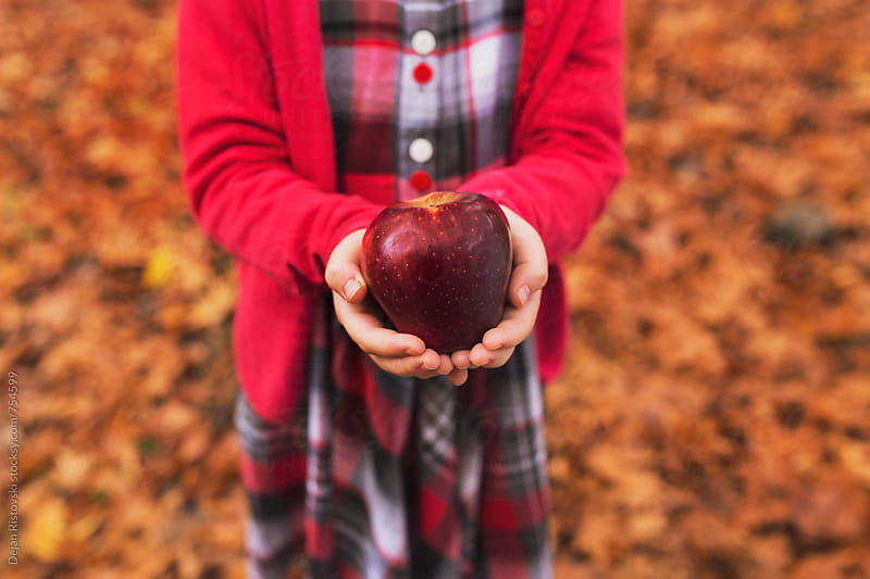 Child's hands holding red apple by Dejan Ristovski for Stocksy United
