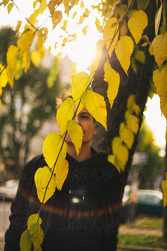 Portrait of a man behind the leaves by Marija Kovac for Stocksy United