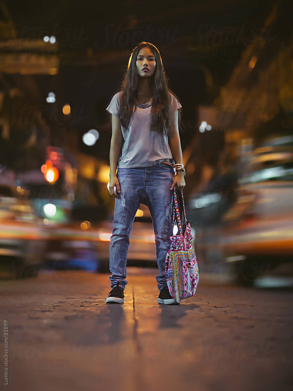 Asian Woman Standing on the Road by Lumina for Stocksy United