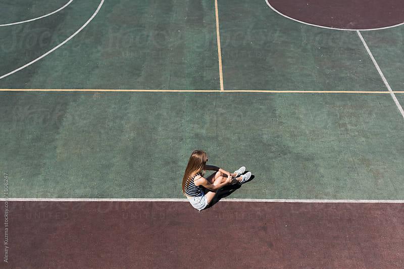 girl on the school sport field