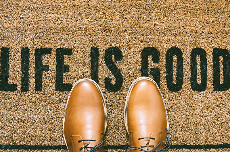 Doormat Life is good by Alexey Kuzma for Stocksy United