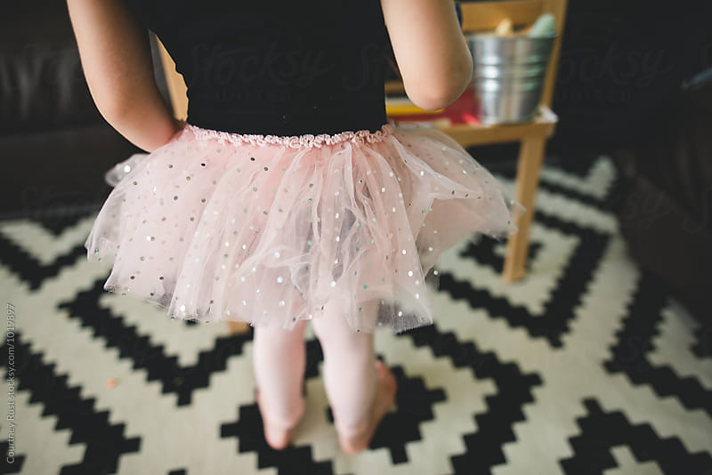 close up of child's tutu while drawing  by Courtney Rust for Stocksy United