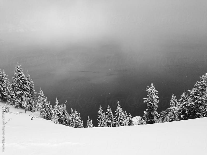 Foggy Lake Surrounded by Snow & Trees by Kevin Gilgan for Stocksy United