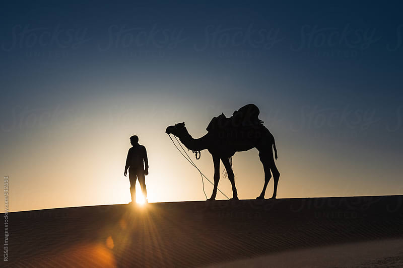 Man and his camel in the sunlight  by RG&B Images for Stocksy United