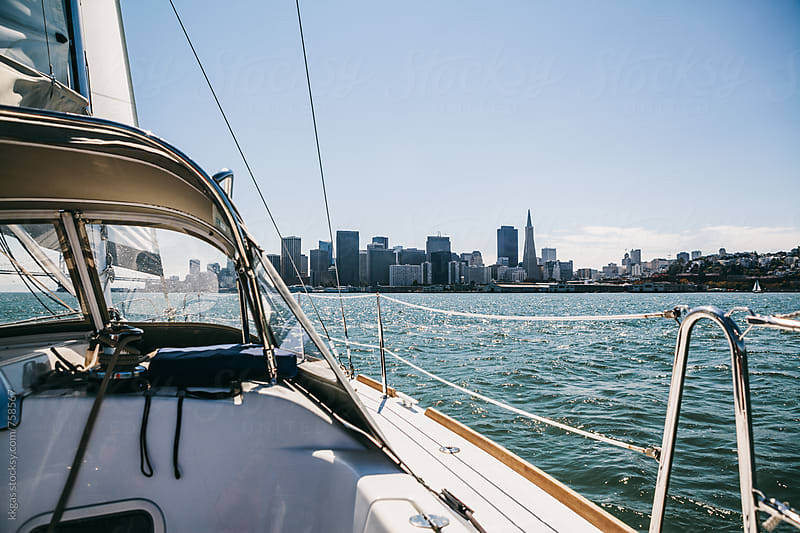 Sailing a yacht in San Francisco Bay, California. by kkgas for Stocksy United