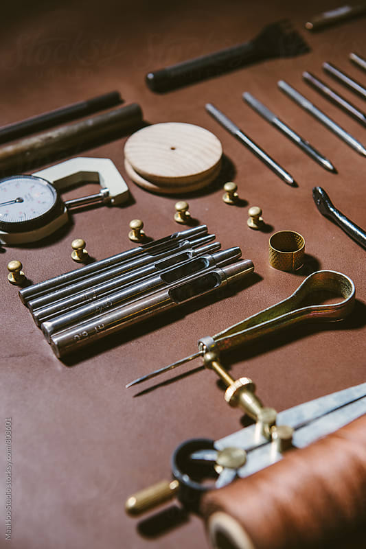 Various leather work tools by Maa Hoo for Stocksy United