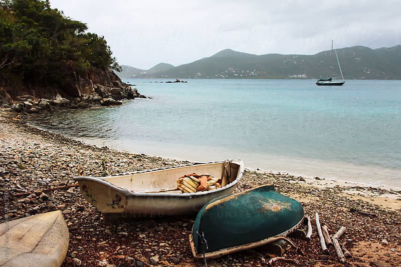 Stormy clouds over a small cove in St. John, U.S. Virgin Islands, West Indies by Holly Clark for Stocksy United