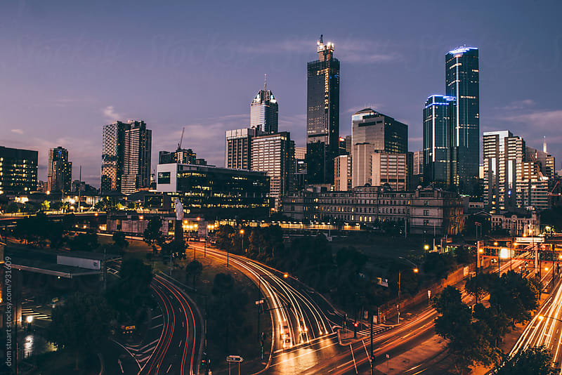 Melbourne Nightscape by dom stuart for Stocksy United