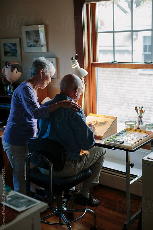 Man and Wife in Artist Studio by Raymond Forbes LLC for Stocksy United