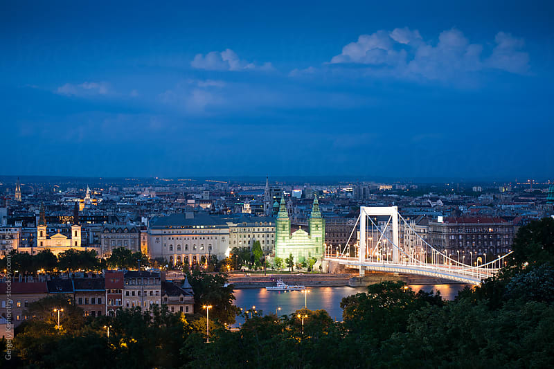 The city around the Danube at night. by Gergely Kishonthy for Stocksy United