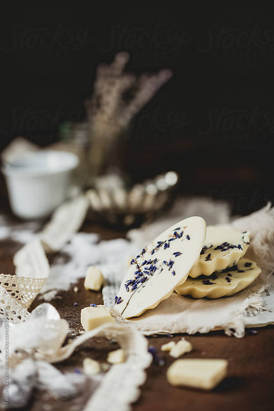 Homemade pralines with white chocolate and lavender by Tatjana Zlatkovic for Stocksy United