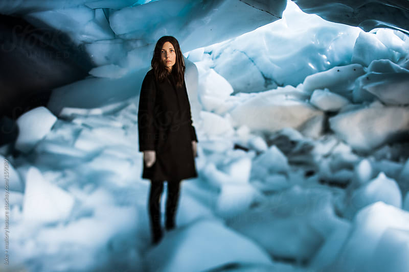 Ice Cave Girl by luke + mallory leasure for Stocksy United