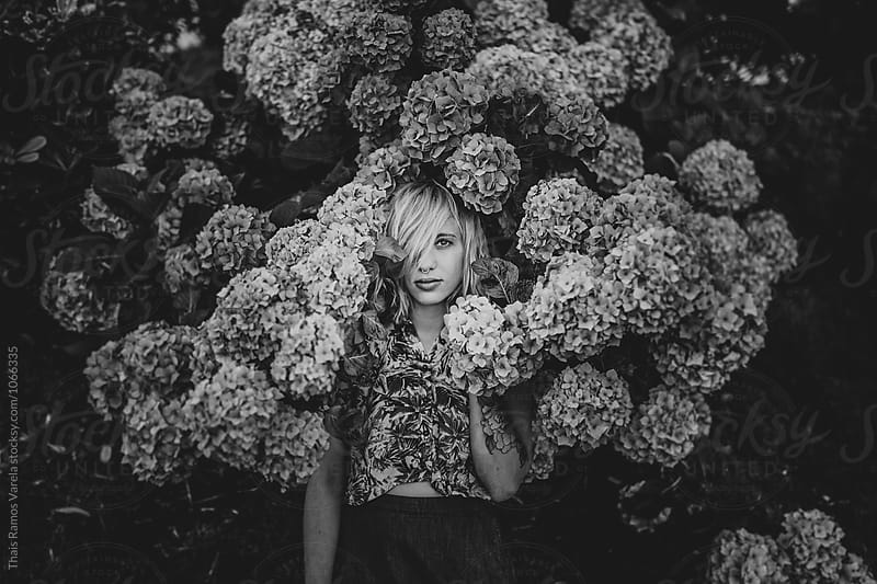 black and white hydrangea portrait by Thais Ramos Varela for Stocksy United
