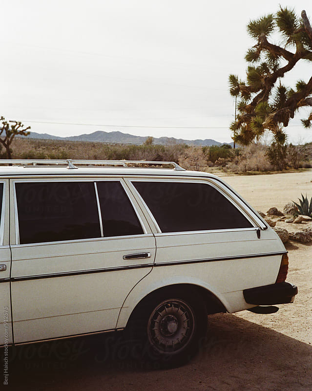 An Old White Car in Joshua Tree. by Benj Haisch for Stocksy United