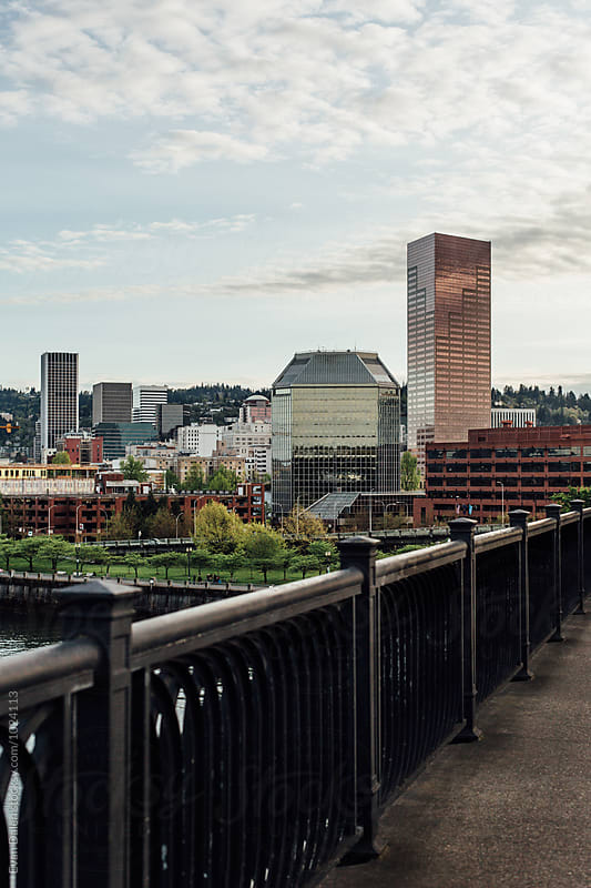 Portland Oregon Downtown View From Bridge by Evan Dalen for Stocksy United