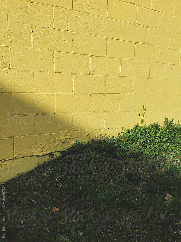 Yellow building wall and grass, shadow across center by Paul Edmondson for Stocksy United