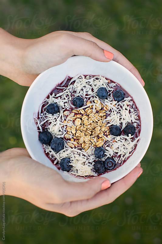 Blueberry acai bowl by Carolyn Lagattuta for Stocksy United
