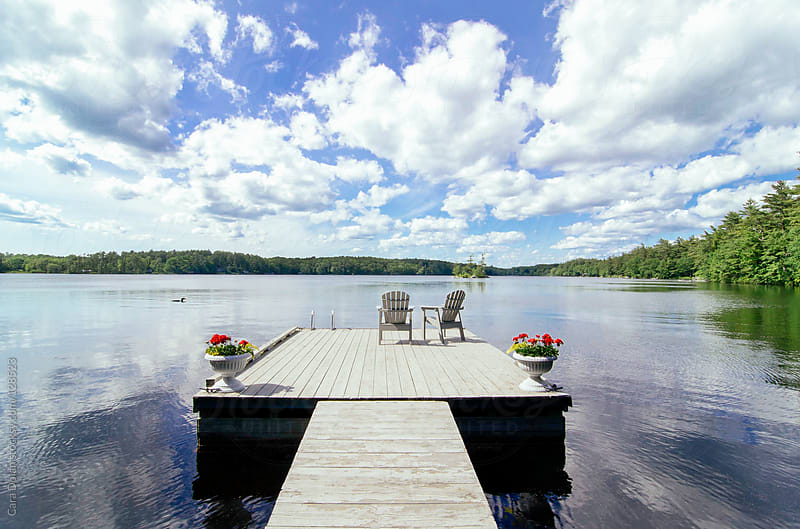 Dock on a lake with chairs and loon by Cara Dolan for Stocksy United