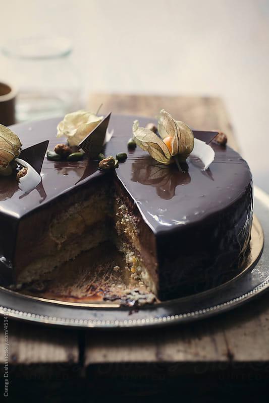 Tropical cake inside by Csenge Dusha for Stocksy United