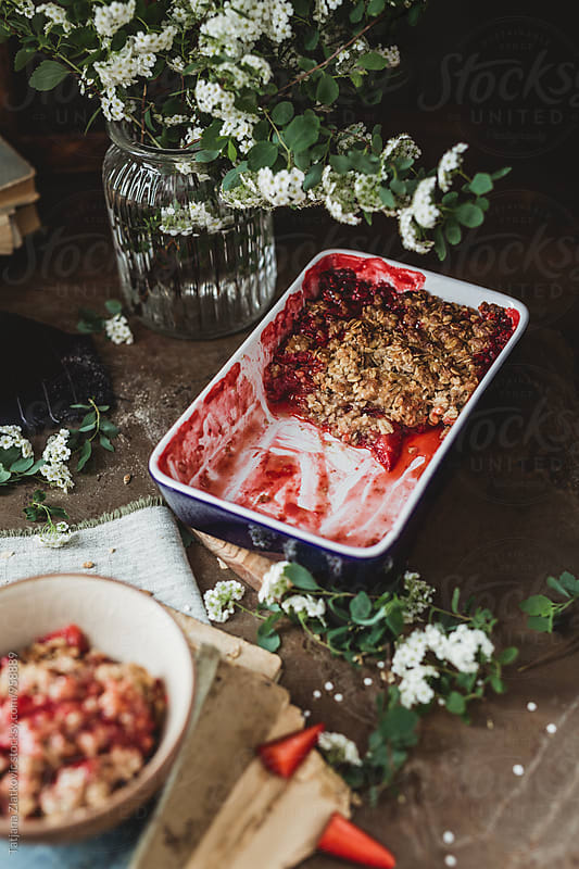 Vegan strawberry crumble by Tatjana Ristanic for Stocksy United
