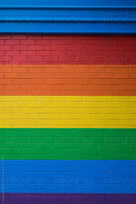 Rainbow Brick Wall by Rowena Naylor for Stocksy United