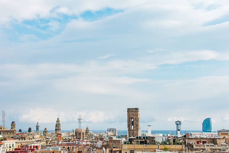 Barcelona Skyline with Mediterranean Sea by Zocky for Stocksy United