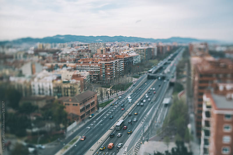 Aerial view of some streets of barcelona by Javier Pardina for Stocksy United