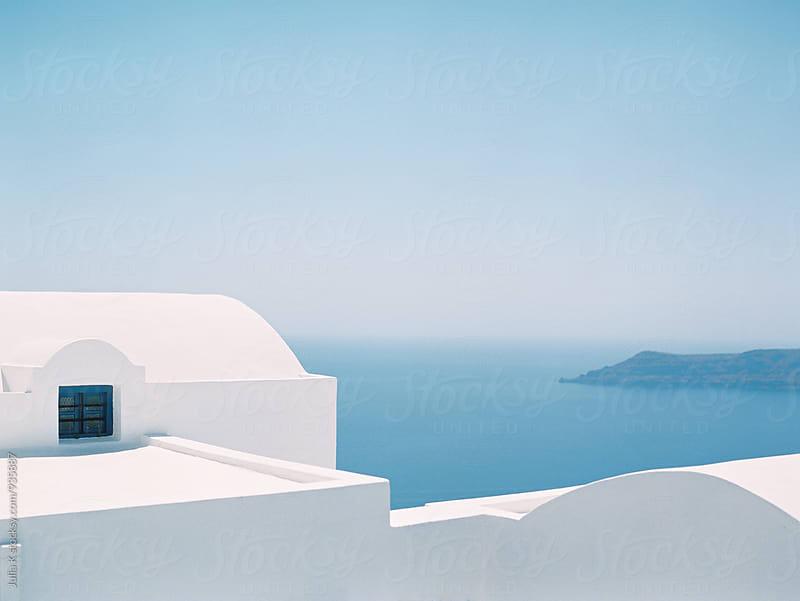 Geometry of traditional Greek buildings on Santorini island by Julia K for Stocksy United