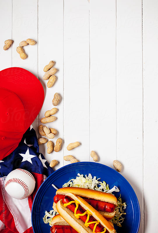 Background: Summertime Baseball and Hot Dogs Background by Sean Locke for Stocksy United