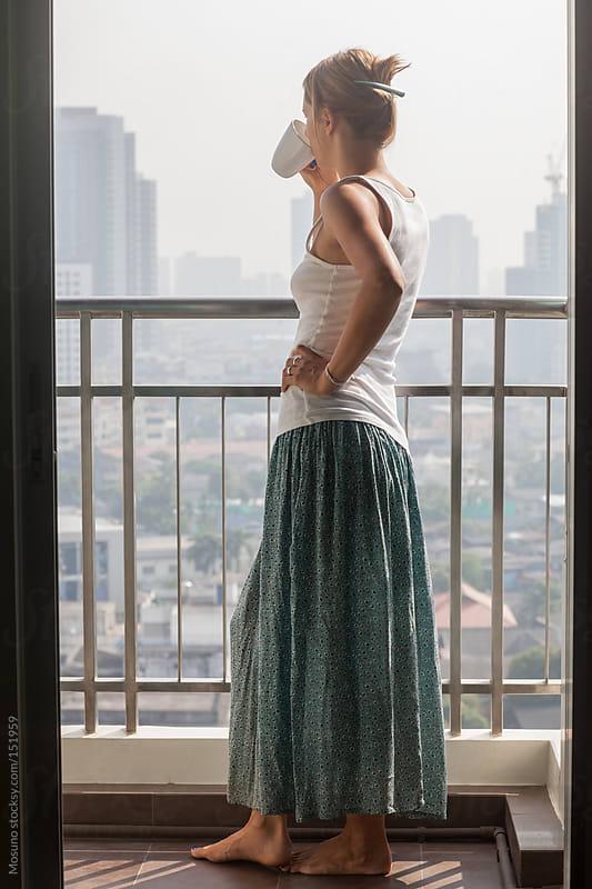 Woman Enjoying Amazing View on Bangkok Skyline by Mosuno for Stocksy United