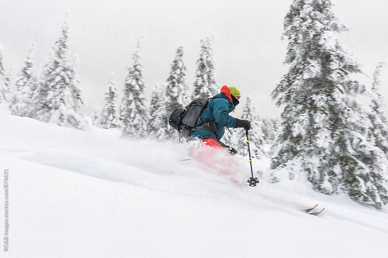Freerider skiing down the slope by RG&B Images for Stocksy United