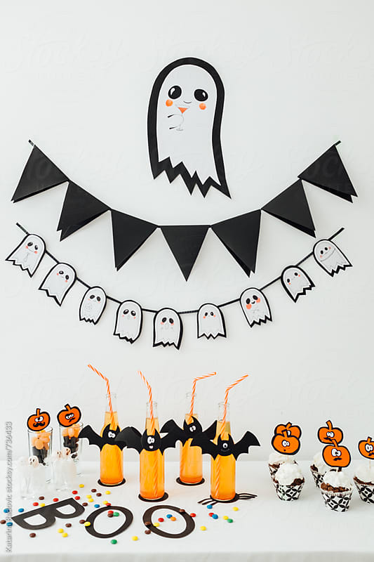 Halloween DIY Kids Party Decoration with Food and Drink  by Katarina Radovic for Stocksy United