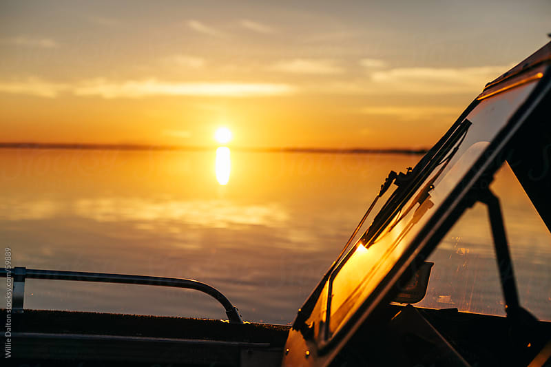 Boat Windshield during Sunset by Willie Dalton for Stocksy United
