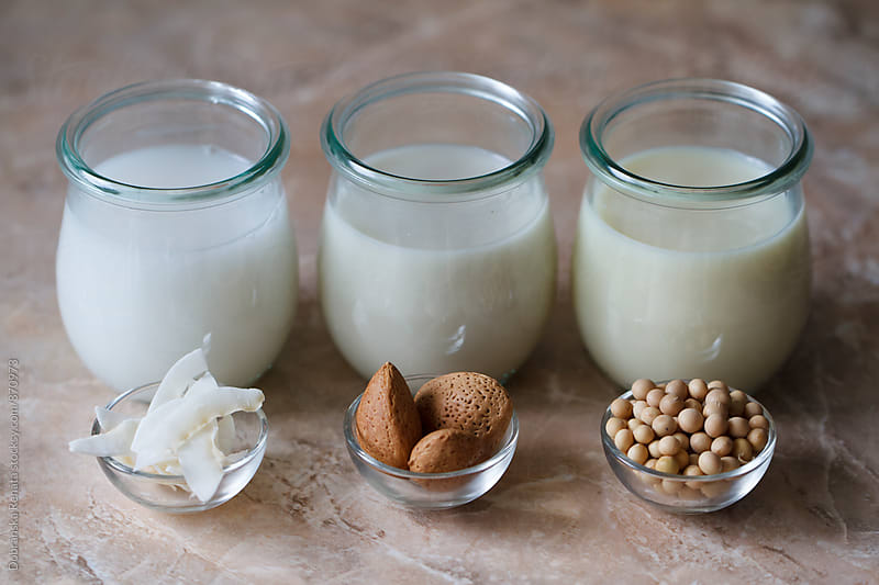 Various types of vegan milk in jars by Dobránska Renáta for Stocksy United