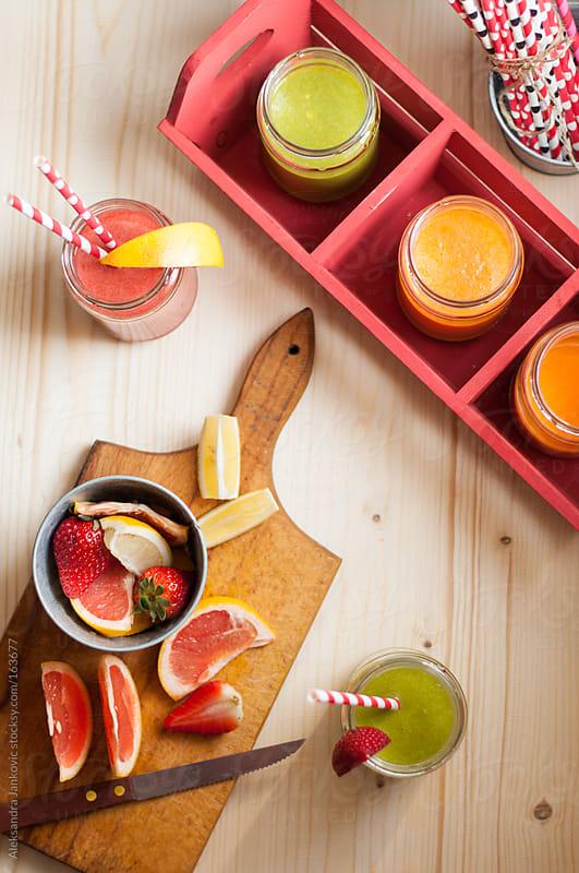 Homemade fruit smoothies by Aleksandra Jankovic for Stocksy United