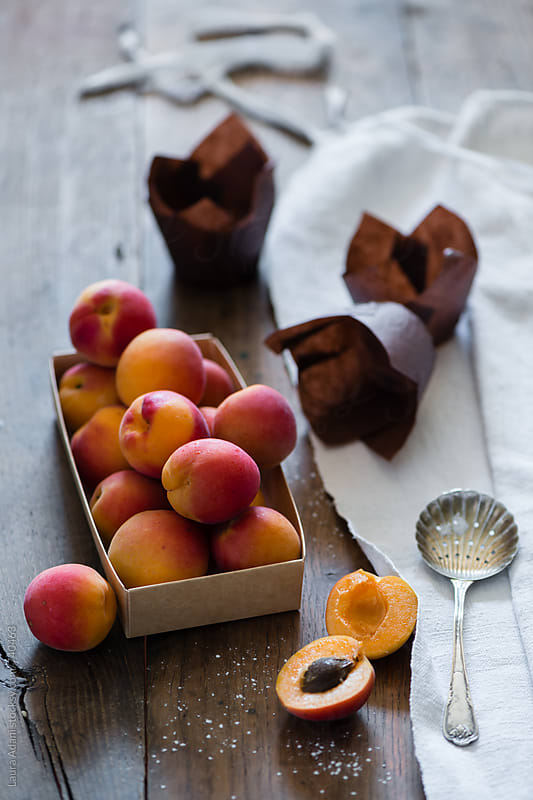 apricots in a box by Laura Adani for Stocksy United