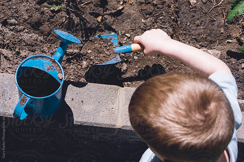 Little boy digging in a raised garden bed by Gary Radler Photography for Stocksy United