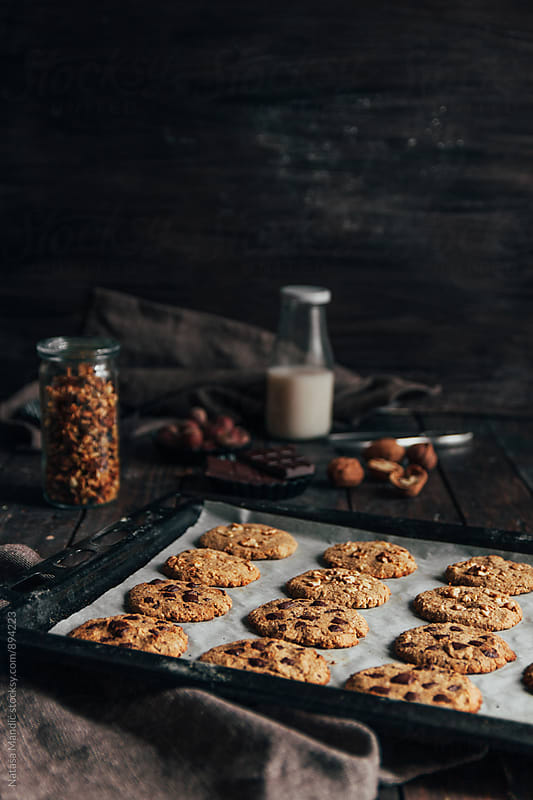Homemade cookies with chocolate and walnuts by Nataša Mandić for Stocksy United