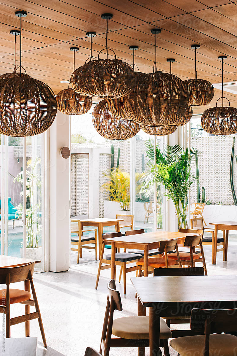 Tropical interior design hip empty restaurant in stylish beach