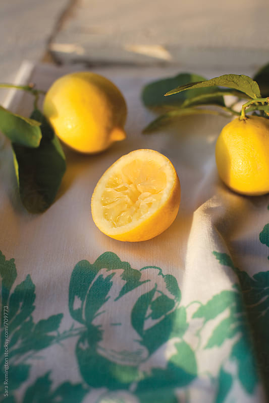 Organic Lemons on Linen by Sara Remington for Stocksy United