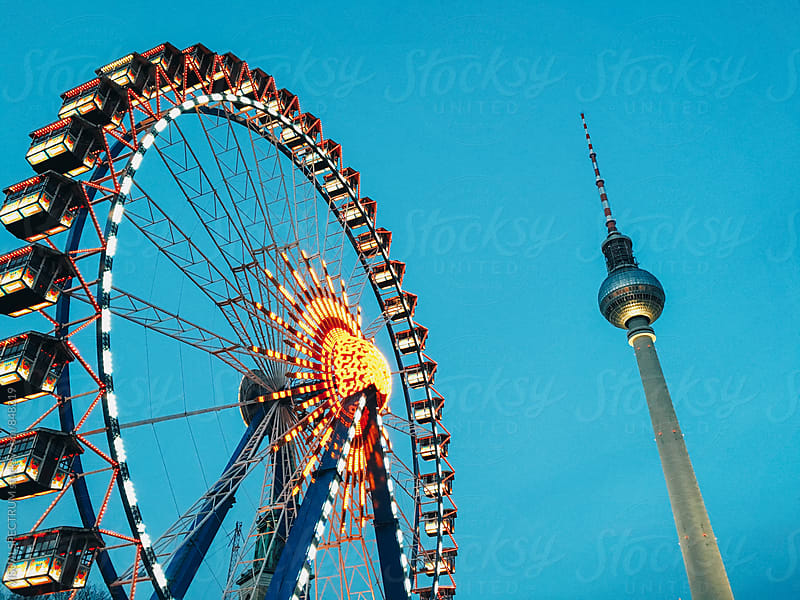 Ferris Wheel and Berlin TV Tower by VISUALSPECTRUM for Stocksy United