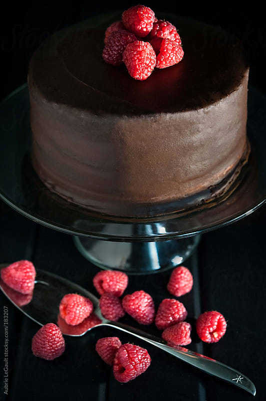 Chocolate Cake with Raspberries by Aubrie LeGault for Stocksy United
