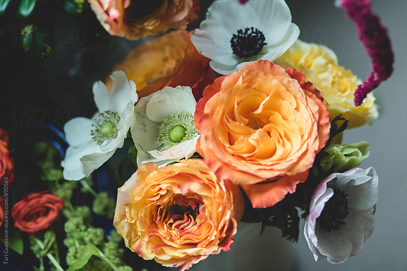 Looking down on lush bouquet of spring flowers by Tari Gunstone for Stocksy United