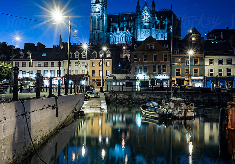 Cobh Harbour at Night by Gary Radler Photography for Stocksy United