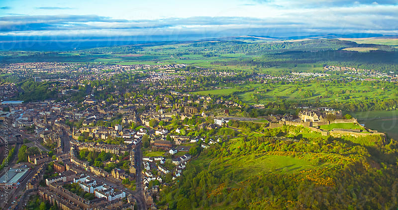 Panoramic aerial view of Stirling Castle in Scotland by Andy Campbell for Stocksy United