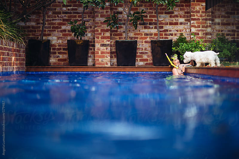 Boy in a swimming pool watched by his dog by Angela Lumsden for Stocksy United