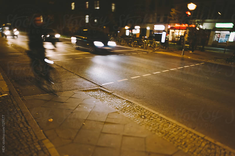 Cycling Lane by Night. Berlin by HEX. for Stocksy United