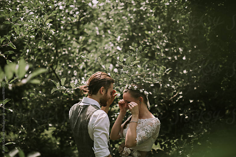 A Bride and Groom First Look on Their Wedding Day by Rachel Gulotta Photography for Stocksy United