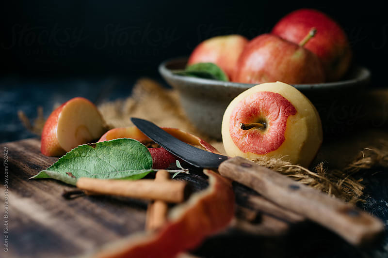 Fresh apple peeled by Gabriel (Gabi) Bucataru for Stocksy United