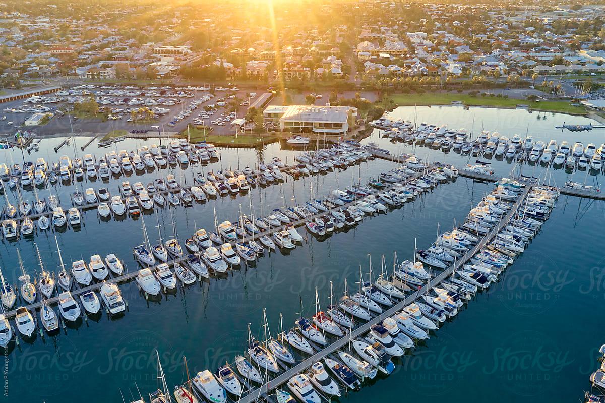 Fremantle marina sunrise stock photo